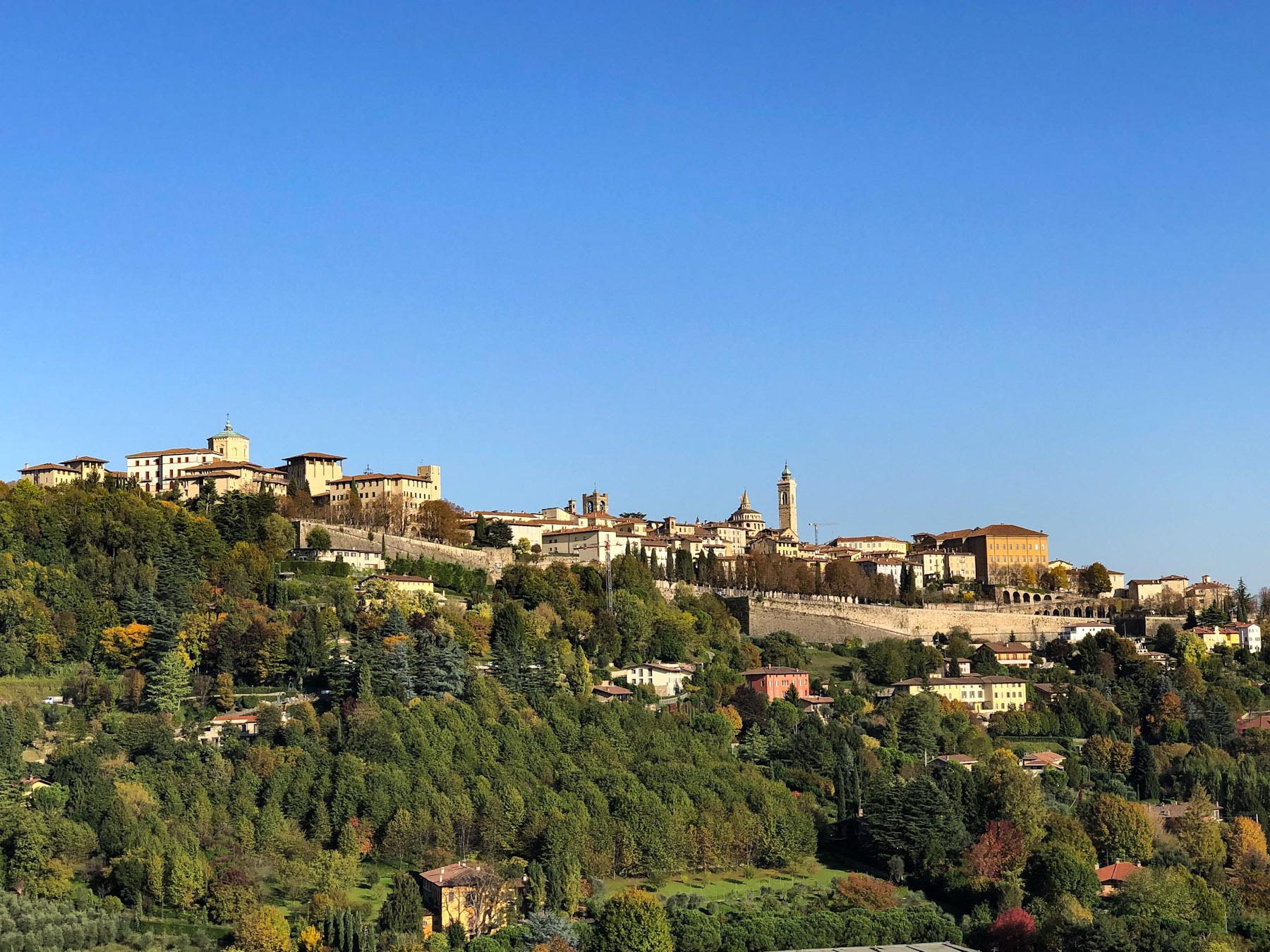 View of Citta Alta from Scaletta delle More, Bergamo, Italy